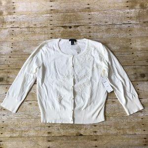 NWT Spense Off White Knit Embellished Cardigan
